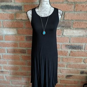 Old Navy Solid Black Swing Dress-M Tall